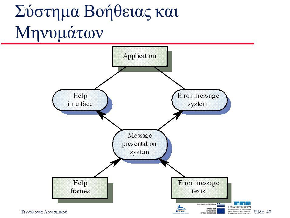 Τεχνολογία ΛογισμικούSlide 40 Σύστημα Βοήθειας και Μηνυμάτων