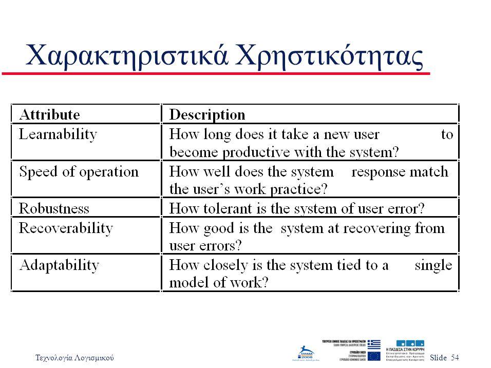 Τεχνολογία ΛογισμικούSlide 54 Χαρακτηριστικά Χρηστικότητας