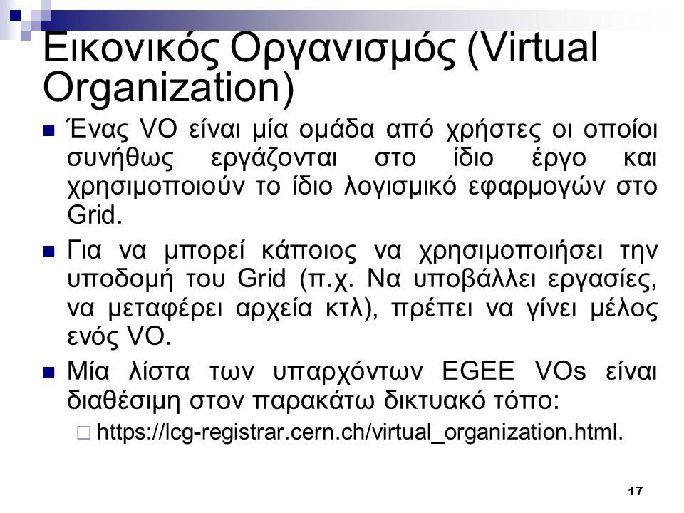 17 Εικονικός Οργανισμός (Virtual Organization) Ένας VO είναι μία ομάδα από χρήστες οι οποίοι συνήθως εργάζονται στο ίδιο έργο και χρησιμοποιούν το ίδιο λογισμικό εφαρμογών στο Grid.