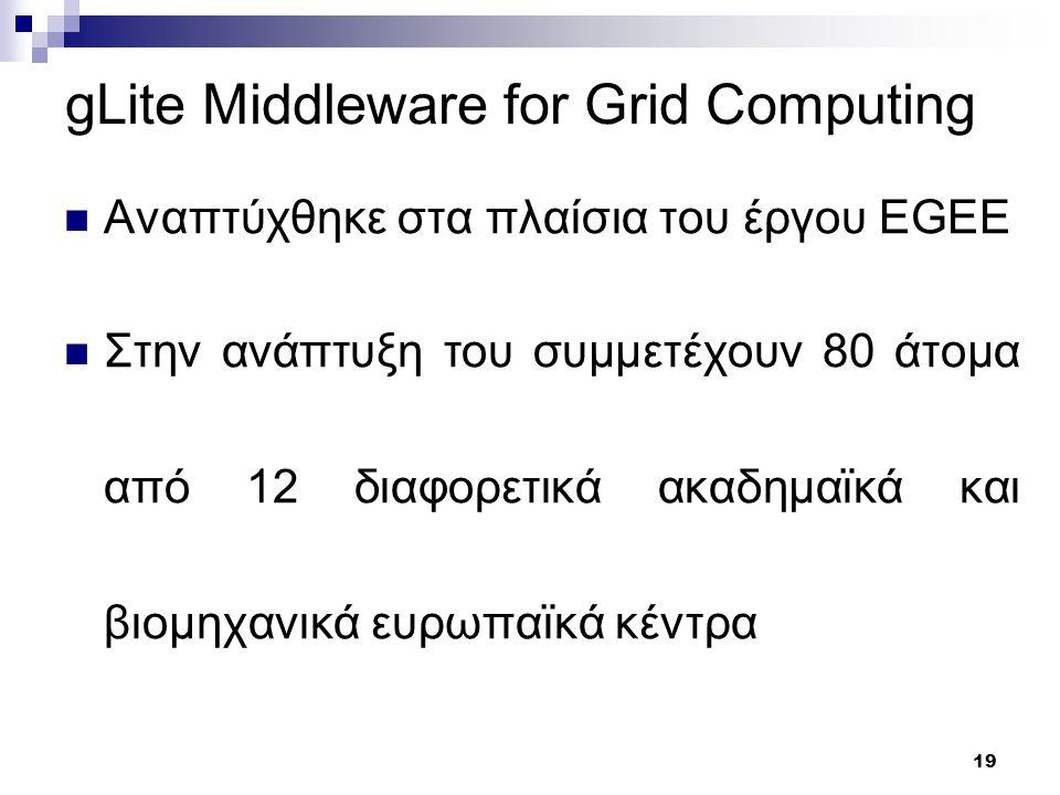 19 gLite Middleware for Grid Computing Αναπτύχθηκε στα πλαίσια του έργου EGEE Στην ανάπτυξη του συμμετέχουν 80 άτομα από 12 διαφορετικά ακαδημαϊκά και βιομηχανικά ευρωπαϊκά κέντρα