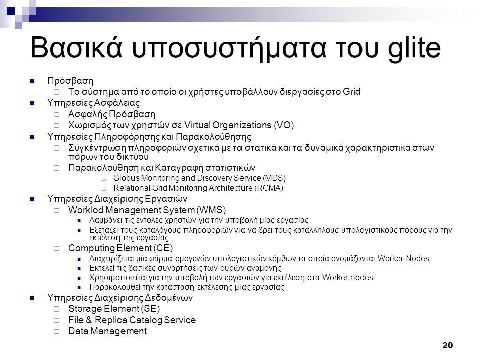 20 Βασικά υποσυστήματα του glite Πρόσβαση  Το σύστημα από το οποίο οι χρήστες υποβάλλουν διεργασίες στο Grid Υπηρεσίες Ασφάλειας  Ασφαλής Πρόσβαση  Χωρισμός των χρηστών σε Virtual Organizations (VO) Υπηρεσίες Πληροφόρησης και Παρακολούθησης  Συγκέντρωση πληροφοριών σχετικά με τα στατικά και τα δυναμικά χαρακτηριστικά στων πόρων του δικτύου  Παρακολούθηση και Καταγραφή στατιστικών  Globus Monitoring and Discovery Service (MDS)  Relational Grid Monitoring Architecture (RGMA) Υπηρεσίες Διαχείρισης Εργασιών  Worklod Management System (WMS) Λαμβάνει τις εντολές χρηστών για την υποβολή μίας εργασίας Εξετάζει τους καταλόγους πληροφοριών για να βρει τους κατάλληλους υπολογιστικούς πόρους για την εκτέλεση της εργασίας  Computing Element (CE) Διαχειρίζεται μία φάρμα ομογενών υπολογιστικών κόμβων τα οποία ονομάζονται Worker Nodes Εκτελεί τις βασικές συναρτήσεις των ουρών αναμονής Χρησιμοποιείται για την υποβολή των εργασιών για εκτέλεση στα Worker nodes Παρακολουθεί την κατάσταση εκτέλεσης μίας εργασίας Υπηρεσίες Διαχείρισης Δεδομένων  Storage Element (SE)  File & Replica Catalog Service  Data Management