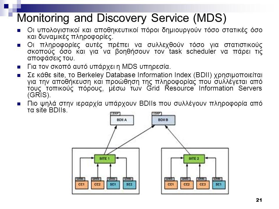 21 Monitoring and Discovery Service (MDS) Οι υπολογιστικοί και αποθηκευτικοί πόροι δημιουργούν τόσο στατικές όσο και δυναμικές πληροφορίες.
