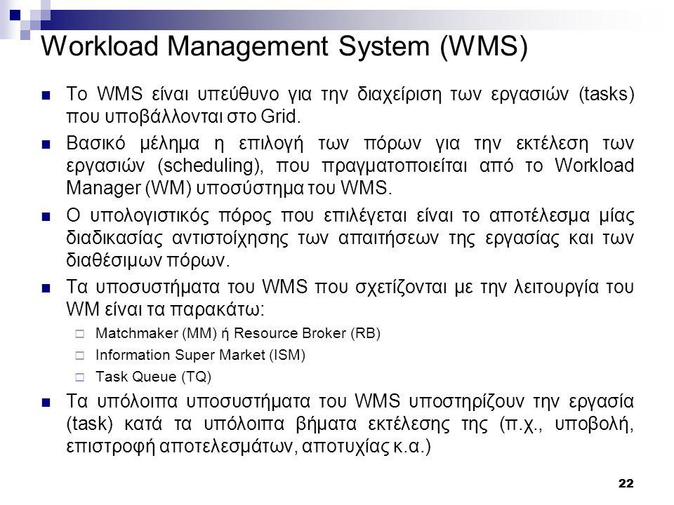 22 Workload Management System (WMS) Το WMS είναι υπεύθυνο για την διαχείριση των εργασιών (tasks) που υποβάλλονται στο Grid.