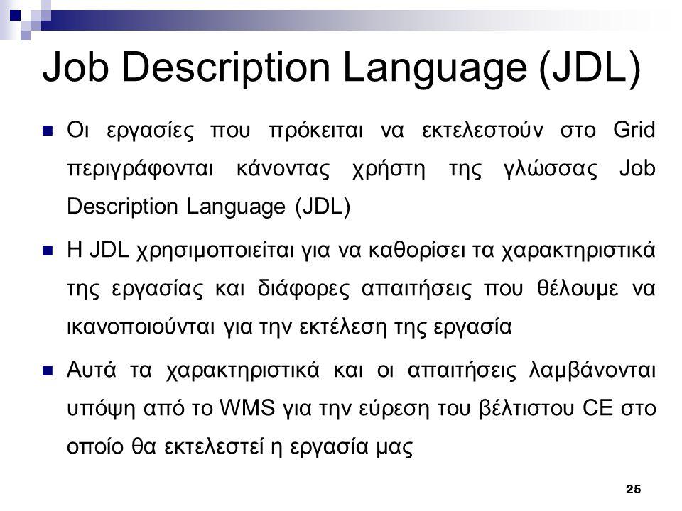 26 Παράδειγμα ενός JDL αρχείου Executable = test.sh ; Arguments = fileAfileB ; StdOutput = std.out ; StdError = std.err ; InputSandbox = { test.sh , fileA , fileB }; OutputSandbox = { stdout , std.err }; VirtualOrganisation = see ; Requirements = other.GlueHostMainMemoryRAMAvailable> = 4000