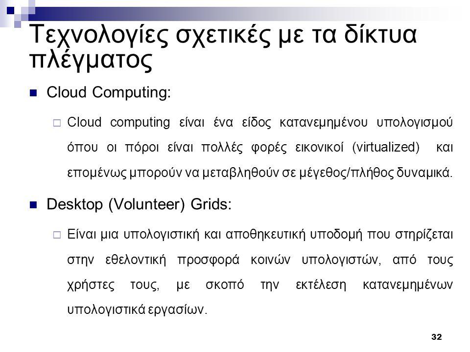 32 Τεχνολογίες σχετικές με τα δίκτυα πλέγματος Cloud Computing:  Cloud computing είναι ένα είδος κατανεμημένου υπολογισμού όπου οι πόροι είναι πολλές φορές εικονικοί (virtualized) και επομένως μπορούν να μεταβληθούν σε μέγεθος/πλήθος δυναμικά.