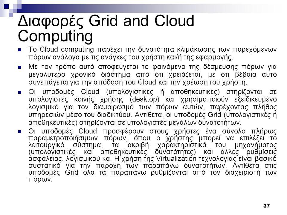 37 Διαφορές Grid and Cloud Computing Το Cloud computing παρέχει την δυνατότητα κλιμάκωσης των παρεχόμενων πόρων ανάλογα με τις ανάγκες του χρήστη και/ή της εφαρμογής.