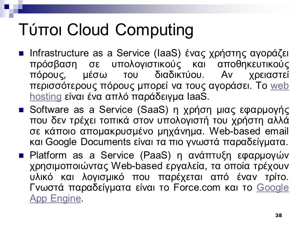 39 Cloud Computing Παραδειγματα Pithos: Η υπηρεσία Pithos προσφέρει σε κάθε χρήστη 50 GBytes αποθηκευτικού χώρου online, προσβάσιμα από παντού, πάντοτε, με ασφάλεια.