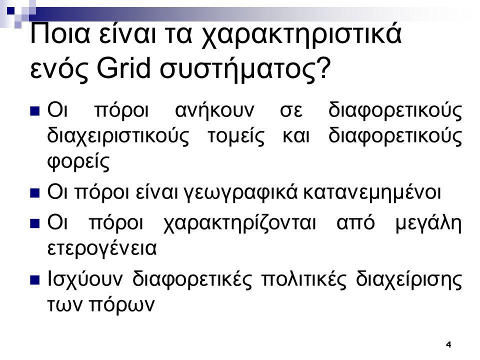 4 Ποια είναι τα χαρακτηριστικά ενός Grid συστήματος.