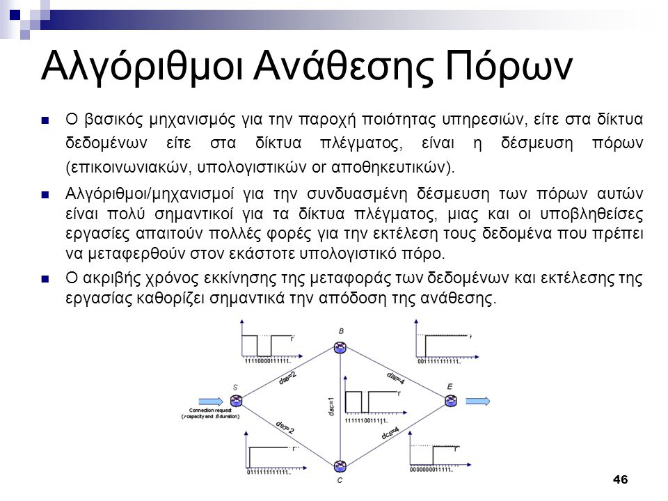 47 Σύνοψη της πληροφορίας των πόρων Ο χρονοπρογραμματιστής χρησιμοποιεί για τις αποφάσεις του στατικές και δυναμικές πληροφορίες για τους πόρους του δικτύου.