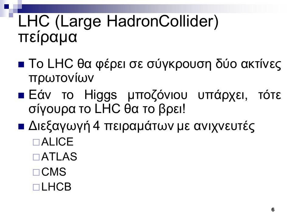 6 LHC (Large HadronCollider) πείραμα Το LHC θα φέρει σε σύγκρουση δύο ακτίνες πρωτονίων Εάν το Higgs μποζόνιου υπάρχει, τότε σίγουρα το LHC θα το βρει.