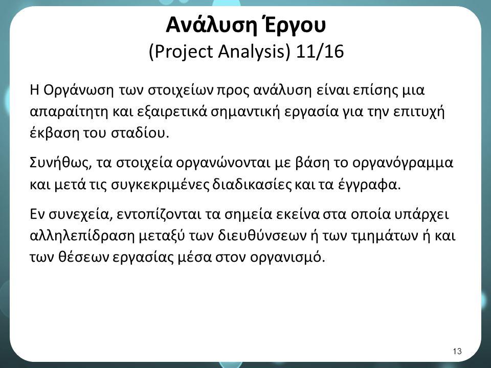 Ανάλυση Έργου (Project Analysis) 11/16 Η Οργάνωση των στοιχείων προς ανάλυση είναι επίσης μια απαραίτητη και εξαιρετικά σημαντική εργασία για την επιτυχή έκβαση του σταδίου.