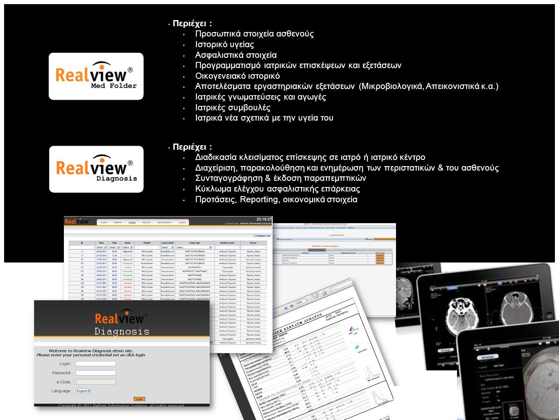 Περιέχει : Προσωπικά στοιχεία ασθενούς Ιστορικό υγείας Ασφαλιστικά στοιχεία Προγραμματισμό ιατρικών επισκέψεων και εξετάσεων Οικογενειακό ιστορικό Αποτελέσματα εργαστηριακών εξετάσεων (Μικροβιολογικά, Απεικονιστικά κ.α.) Ιατρικές γνωματεύσεις και αγωγές Ιατρικές συμβουλές Ιατρικά νέα σχετικά με την υγεία του Περιέχει : Διαδικασία κλεισίματος επίσκεψης σε ιατρό ή ιατρικό κέντρο Διαχείριση, παρακολούθηση και ενημέρωση των περιστατικών & του ασθενούς Συνταγογράφηση & έκδοση παραπεμπτικών Κύκλωμα ελέγχου ασφαλιστικής επάρκειας Προτάσεις, Reporting, οικονομικά στοιχεία