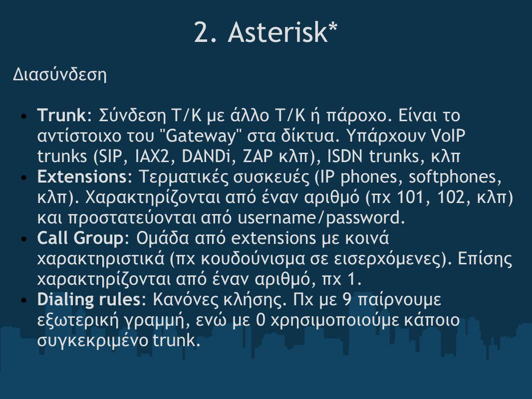 2.Asterisk* Διασύνδεση Trunk: Σύνδεση Τ/Κ με άλλο Τ/Κ ή πάροχο.