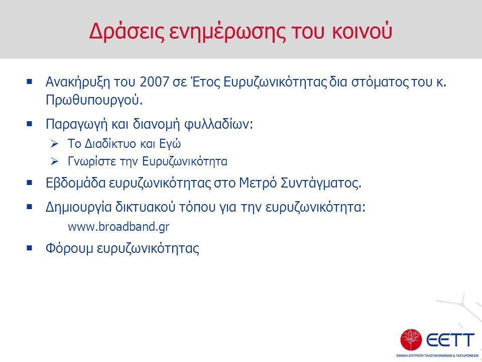 Δράσεις ενημέρωσης του κοινού  Ανακήρυξη του 2007 σε Έτος Ευρυζωνικότητας δια στόματος του κ.