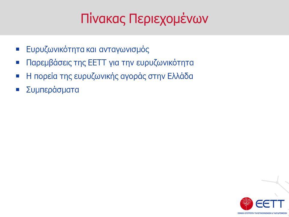 Πίνακας Περιεχομένων  Ευρυζωνικότητα και ανταγωνισμός  Παρεμβάσεις της ΕΕΤΤ για την ευρυζωνικότητα  Η πορεία της ευρυζωνικής αγοράς στην Ελλάδα  Συμπεράσματα