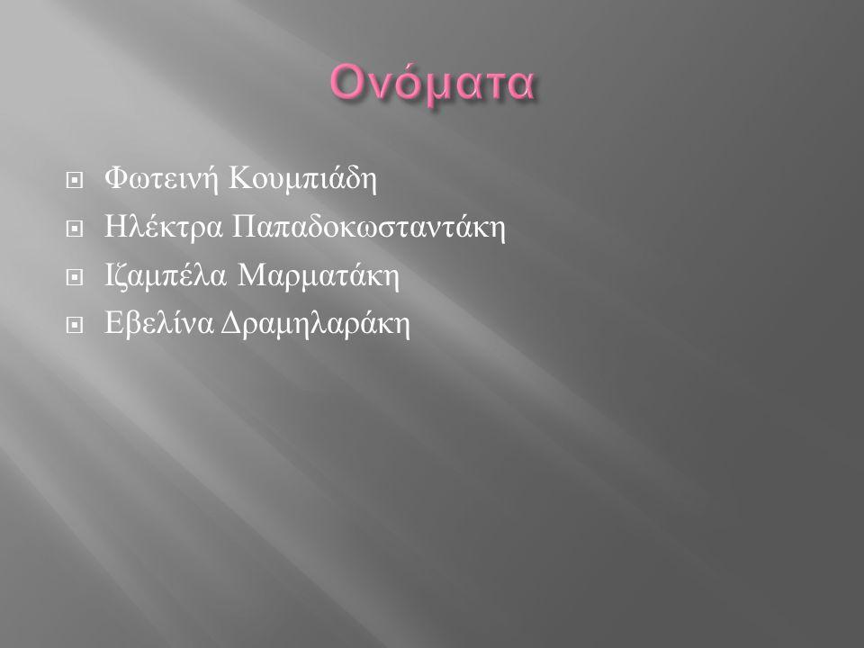  Φωτεινή Κουμπιάδη  Ηλέκτρα Παπαδοκωσταντάκη  Ιζαμπέλα Μαρματάκη  Εβελίνα Δραμηλαράκη