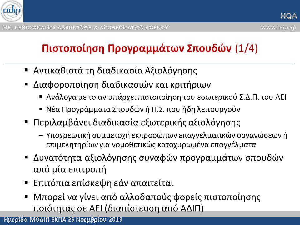 Πιστοποίηση Προγραμμάτων Σπουδών (1/4) Ημερίδα ΜΟΔΙΠ ΕΚΠΑ 25 Νοεμβρίου 2013  Αντικαθιστά τη διαδικασία Αξιολόγησης  Διαφοροποίηση διαδικασιών και κριτήριων  Ανάλογα με το αν υπάρχει πιστοποίηση του εσωτερικού Σ.Δ.Π.