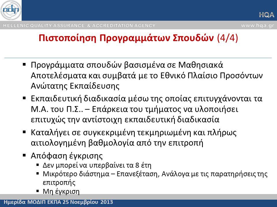 Πιστοποίηση Προγραμμάτων Σπουδών (4/4) Ημερίδα ΜΟΔΙΠ ΕΚΠΑ 25 Νοεμβρίου 2013  Προγράμματα σπουδών βασισμένα σε Μαθησιακά Αποτελέσματα και συμβατά με το Εθνικό Πλαίσιο Προσόντων Ανώτατης Εκπαίδευσης  Εκπαιδευτική διαδικασία μέσω της οποίας επιτυγχάνονται τα Μ.Α.