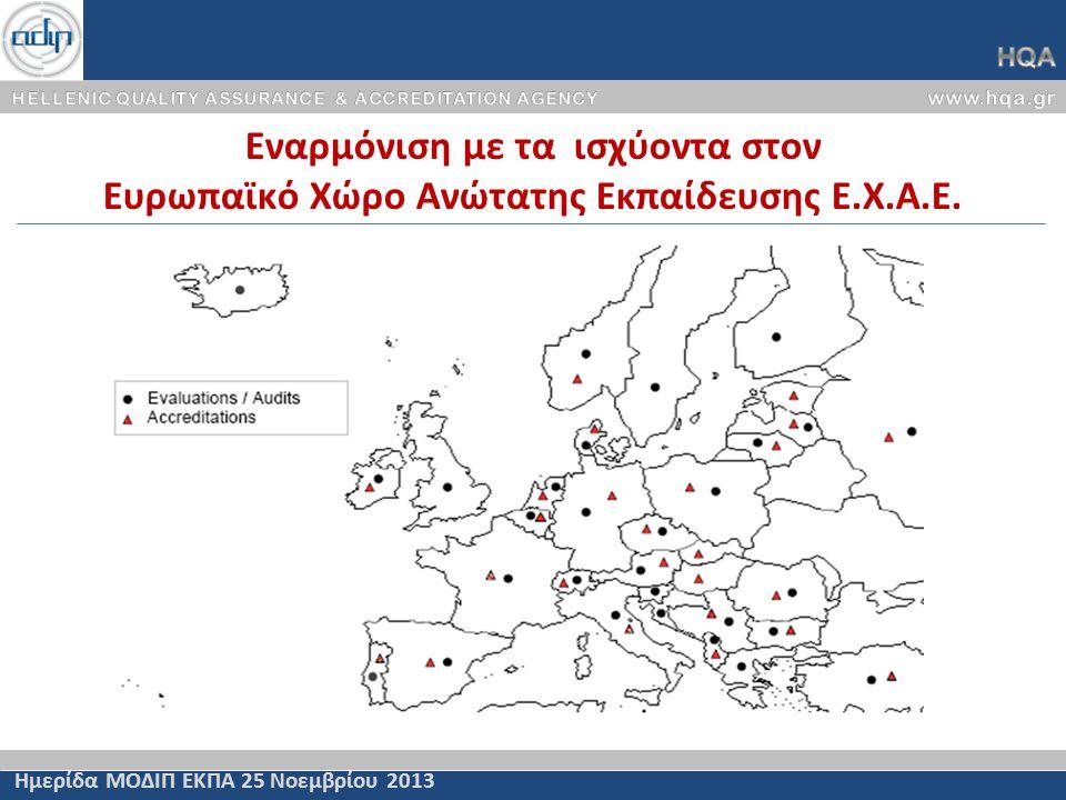 Εναρμόνιση με τα ισχύοντα στον Ευρωπαϊκό Χώρο Ανώτατης Εκπαίδευσης Ε.Χ.Α.Ε.