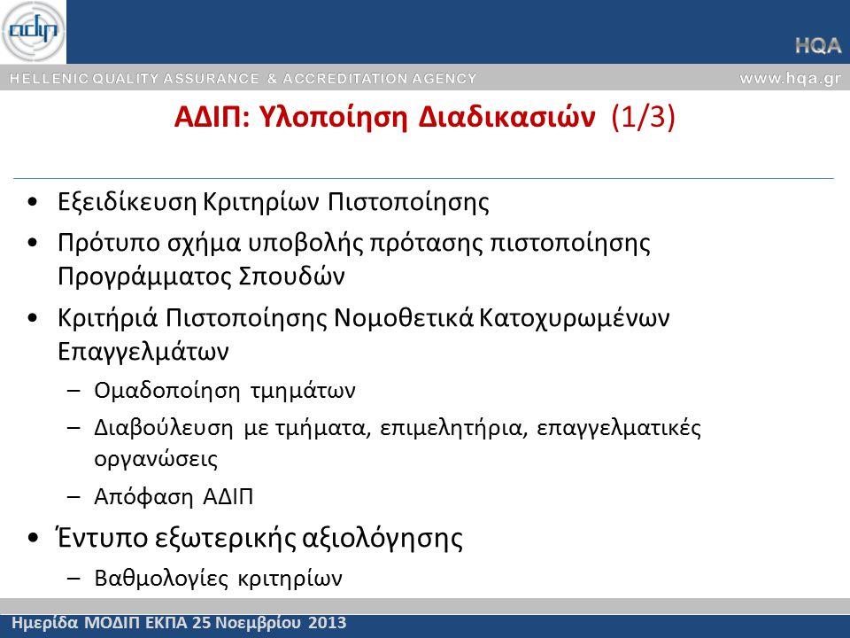 ΑΔΙΠ: Υλοποίηση Διαδικασιών (1/3) Ημερίδα ΜΟΔΙΠ ΕΚΠΑ 25 Νοεμβρίου 2013 Εξειδίκευση Κριτηρίων Πιστοποίησης Πρότυπο σχήμα υποβολής πρότασης πιστοποίησης Προγράμματος Σπουδών Κριτήριά Πιστοποίησης Νομοθετικά Κατοχυρωμένων Επαγγελμάτων –Ομαδοποίηση τμημάτων –Διαβούλευση με τμήματα, επιμελητήρια, επαγγελματικές οργανώσεις –Απόφαση ΑΔΙΠ Έντυπο εξωτερικής αξιολόγησης –Βαθμολογίες κριτηρίων