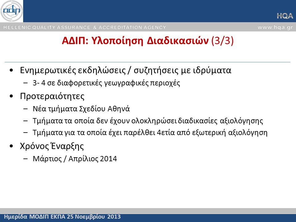 ΑΔΙΠ: Υλοποίηση Διαδικασιών (3/3) Ημερίδα ΜΟΔΙΠ ΕΚΠΑ 25 Νοεμβρίου 2013 Ενημερωτικές εκδηλώσεις / συζητήσεις με ιδρύματα –3- 4 σε διαφορετικές γεωγραφικές περιοχές Προτεραιότητες –Νέα τμήματα Σχεδίου Αθηνά –Τμήματα τα οποία δεν έχουν ολοκληρώσει διαδικασίες αξιολόγησης –Τμήματα για τα οποία έχει παρέλθει 4ετία από εξωτερική αξιολόγηση Χρόνος Έναρξης –Μάρτιος / Απρίλιος 2014