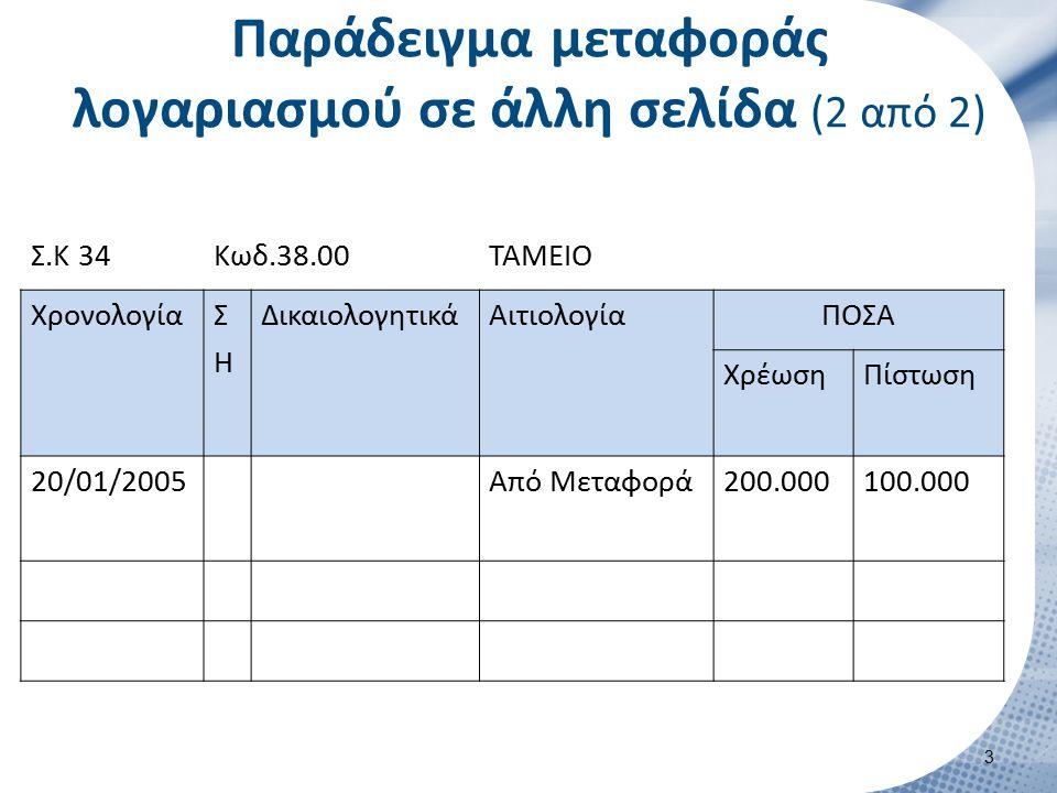 Σ.Κ 34Κωδ.38.00ΤΑΜΕΙΟ ΧρονολογίαΣΗΣΗ ΔικαιολογητικάΑιτιολογίαΠΟΣΑ ΧρέωσηΠίστωση 20/01/2005Από Μεταφορά200.000100.000 Παράδειγμα μεταφοράς λογαριασμού σε άλλη σελίδα (2 από 2) 3