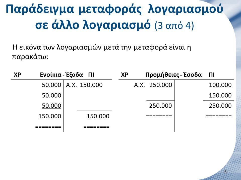 Η εικόνα των λογαριασμών μετά την μεταφορά είναι η παρακάτω: Παράδειγμα μεταφοράς λογαριασμού σε άλλο λογαριασμό (3 από 4) ΧΡΕνοίκια - ΈξοδαΠΙ 50.000Α.Χ.