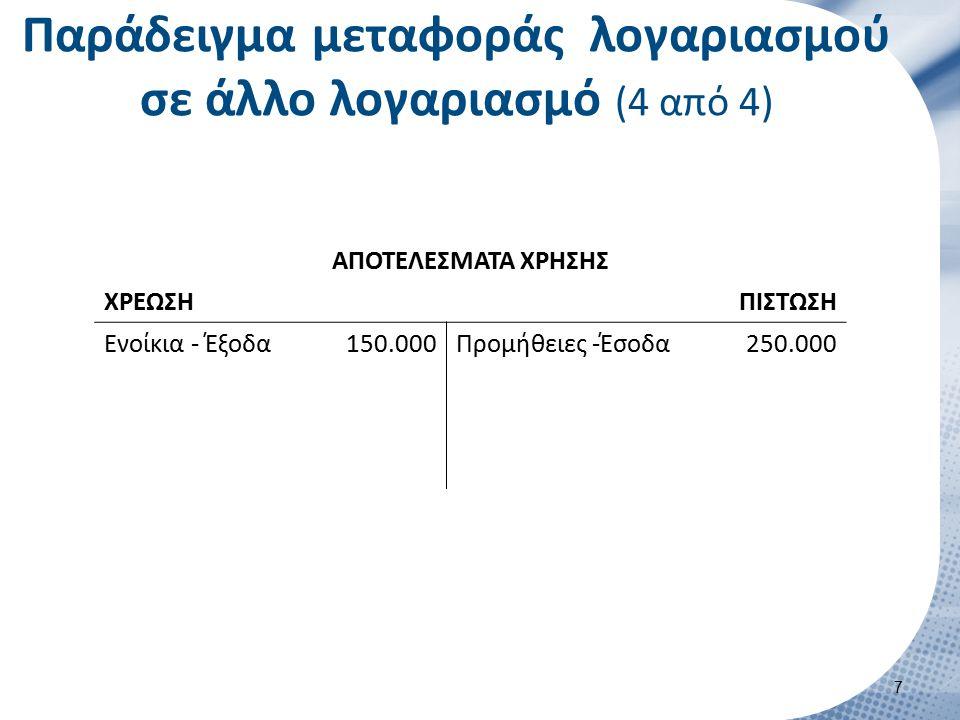 Παράδειγμα μεταφοράς λογαριασμού σε άλλο λογαριασμό (4 από 4) ΑΠΟΤΕΛΕΣΜΑΤΑ ΧΡΗΣΗΣ ΧΡΕΩΣΗΠΙΣΤΩΣΗ Ενοίκια - Έξοδα150.000Προμήθειες -Έσοδα250.000 7