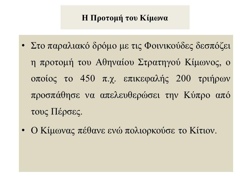 Η Προτομή του Κίμωνα Στο παραλιακό δρόμο με τις Φοινικούδες δεσπόζει η προτομή του Αθηναίου Στρατηγού Κίμωνος, ο οποίος το 450 π.χ. επικεφαλής 200 τρι