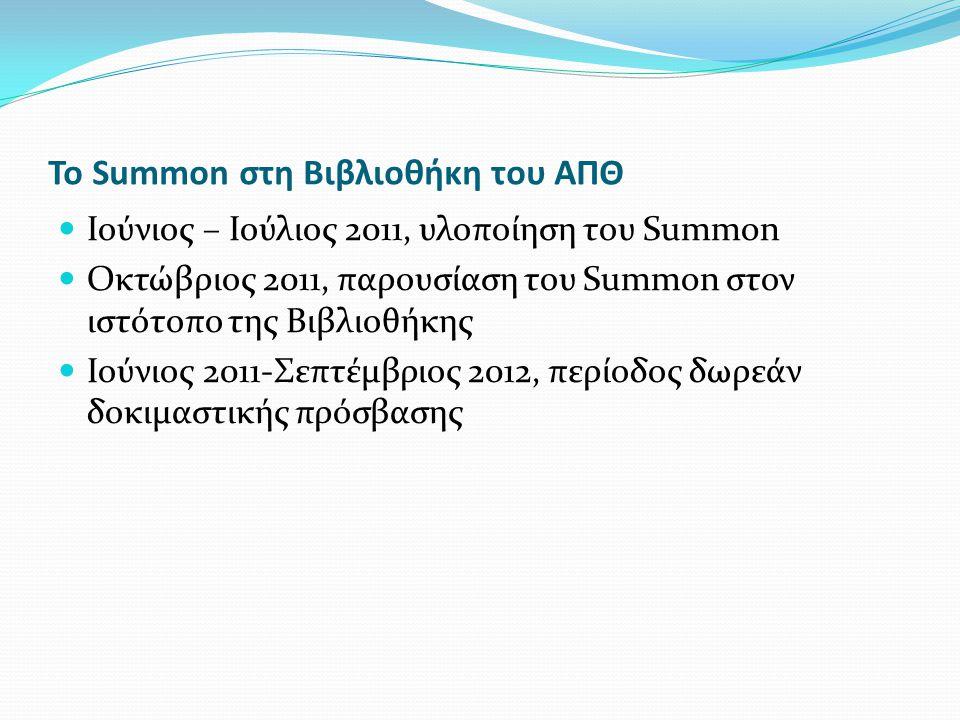 Το Summon στη Βιβλιοθήκη του ΑΠΘ Ιούνιος – Ιούλιος 2011, υλοποίηση του Summon Οκτώβριος 2011, παρουσίαση του Summon στον ιστότοπο της Βιβλιοθήκης Ιούνιος 2011-Σεπτέμβριος 2012, περίοδος δωρεάν δοκιμαστικής πρόσβασης