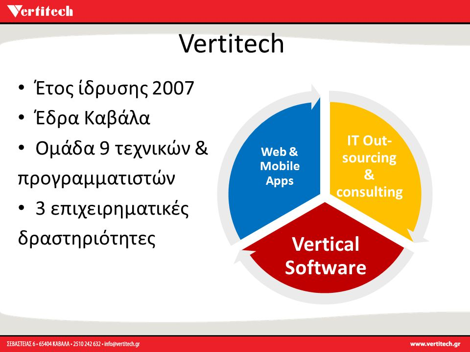 Vertitech IT Out- sourcing & consulting Vertical Software Web & Mobile Apps Έτος ίδρυσης 2007 Έδρα Καβάλα Ομάδα 9 τεχνικών & προγραμματιστών 3 επιχειρ