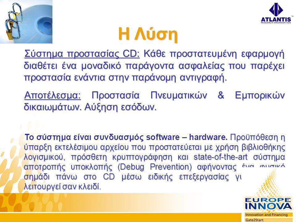 Σύστημα προστασίας CD: Κάθε προστατευμένη εφαρμογή διαθέτει ένα μοναδικό παράγοντα ασφαλείας που παρέχει προστασία ενάντια στην παράνομη αντιγραφή.