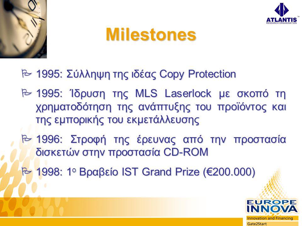 Milestones  1995: Σύλληψη της ιδέας Copy Protection  1995: Ίδρυση της MLS Laserlock με σκοπό τη χρηματοδότηση της ανάπτυξης του προϊόντος και της εμπορικής του εκμετάλλευσης  1996: Στροφή της έρευνας από την προστασία δισκετών στην προστασία CD-ROM  1998: 1 ο Βραβείο ΙST Grand Prize (€200.000)