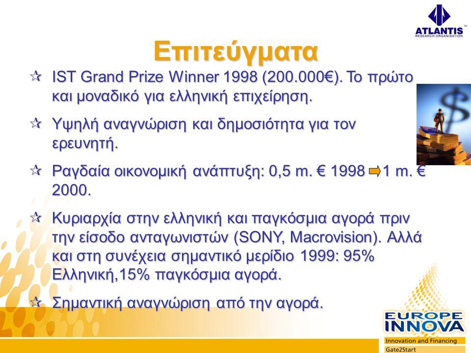  IST Grand Prize Winner 1998 (200.000€). Το πρώτο και μοναδικό για ελληνική επιχείρηση.