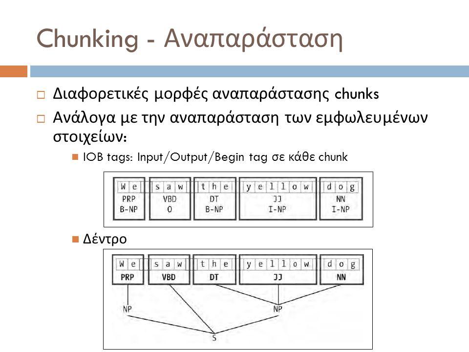 Chunking - Αναπαράσταση  Διαφορετικές μορφές αναπαράστασης chunks  Ανάλογα με την αναπαράσταση των εμφωλευμένων στοιχείων : IOB tags: Input/Output/Begin tag σε κάθε chunk Δέντρο