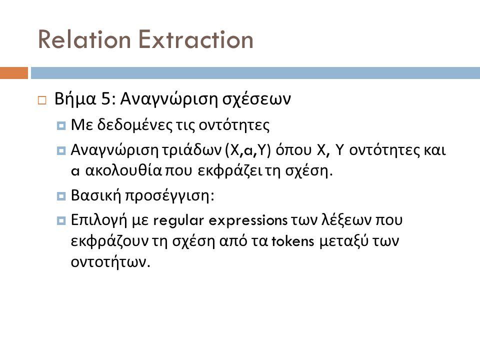 Relation Extraction  Βήμα 5: Αναγνώριση σχέσεων  Με δεδομένες τις οντότητες  Αναγνώριση τριάδων (X,a,Y) όπου X, Y οντότητες και a ακολουθία που εκφράζει τη σχέση.