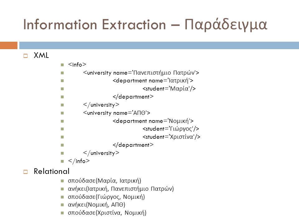 Information Extraction – Παράδειγμα  XML  Relational σπούδασε ( Μαρία, Ιατρική ) ανήκει ( Ιατρική, Πανεπιστήμιο Πατρών ) σπούδασε ( Γιώργος, Νομική ) ανήκει ( Νομική, ΑΠΘ ) σπούδασε ( Χριστίνα, Νομική )