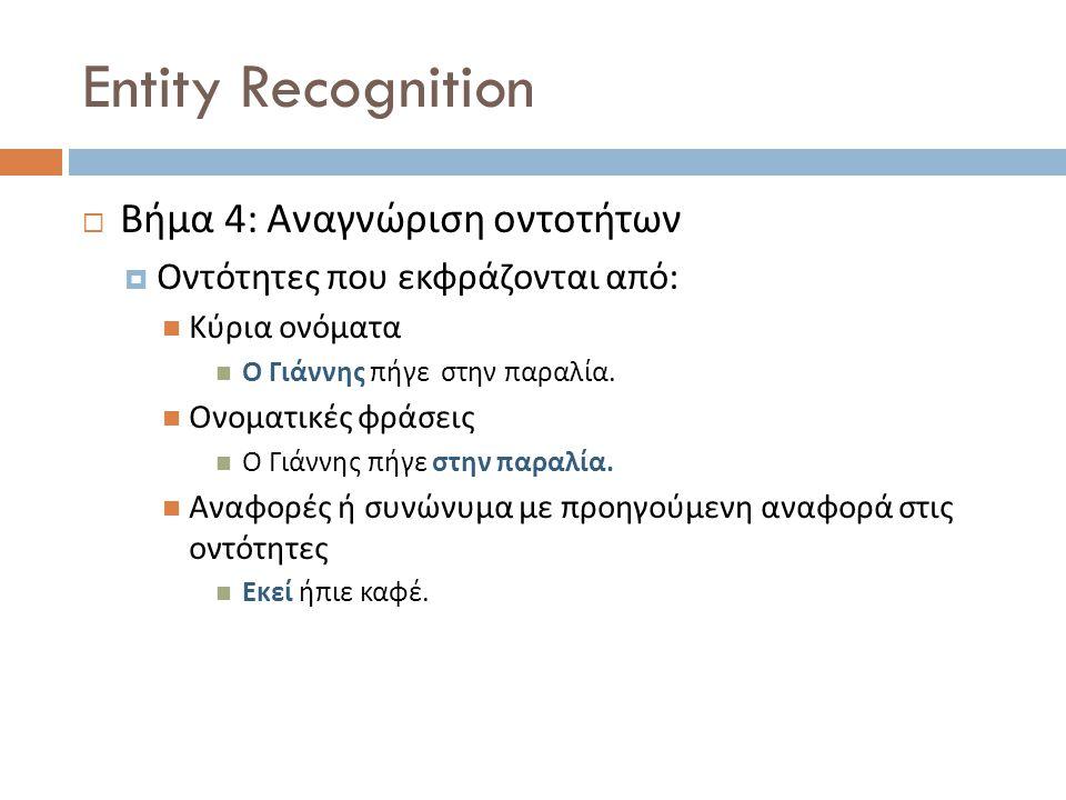 Entity Recognition  Βήμα 4: Αναγνώριση οντοτήτων  Οντότητες που εκφράζονται από : Κύρια ονόματα Ο Γιάννης πήγε στην παραλία.