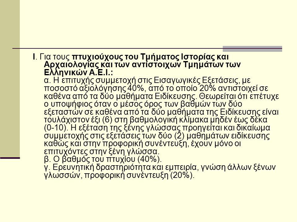 Ι. Για τους πτυχιούχους του Τμήματος Ιστορίας και Αρχαιολογίας και των αντίστοιχων Τμημάτων των Ελληνικών Α.Ε.Ι.: α. Η επιτυχής συμμετοχή στις Εισαγωγ