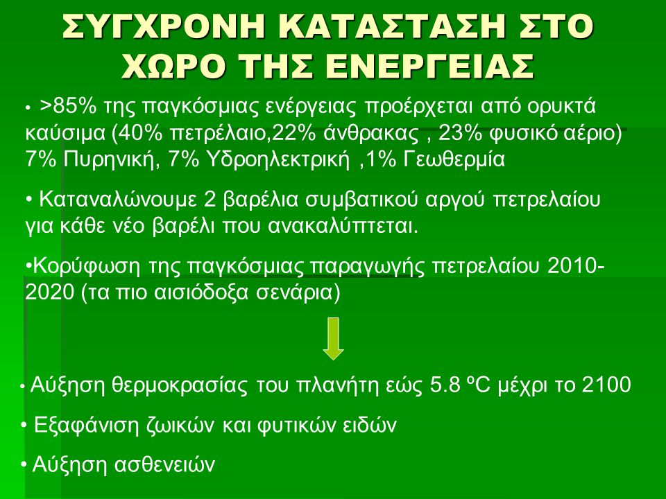 ΣΥΓΧΡΟΝΗ ΚΑΤΑΣΤΑΣΗ ΣΤΟ ΧΩΡΟ ΤΗΣ ΕΝΕΡΓΕΙΑΣ >85% της παγκόσμιας ενέργειας προέρχεται από ορυκτά καύσιμα (40% πετρέλαιο,22% άνθρακας, 23% φυσικό αέριο) 7
