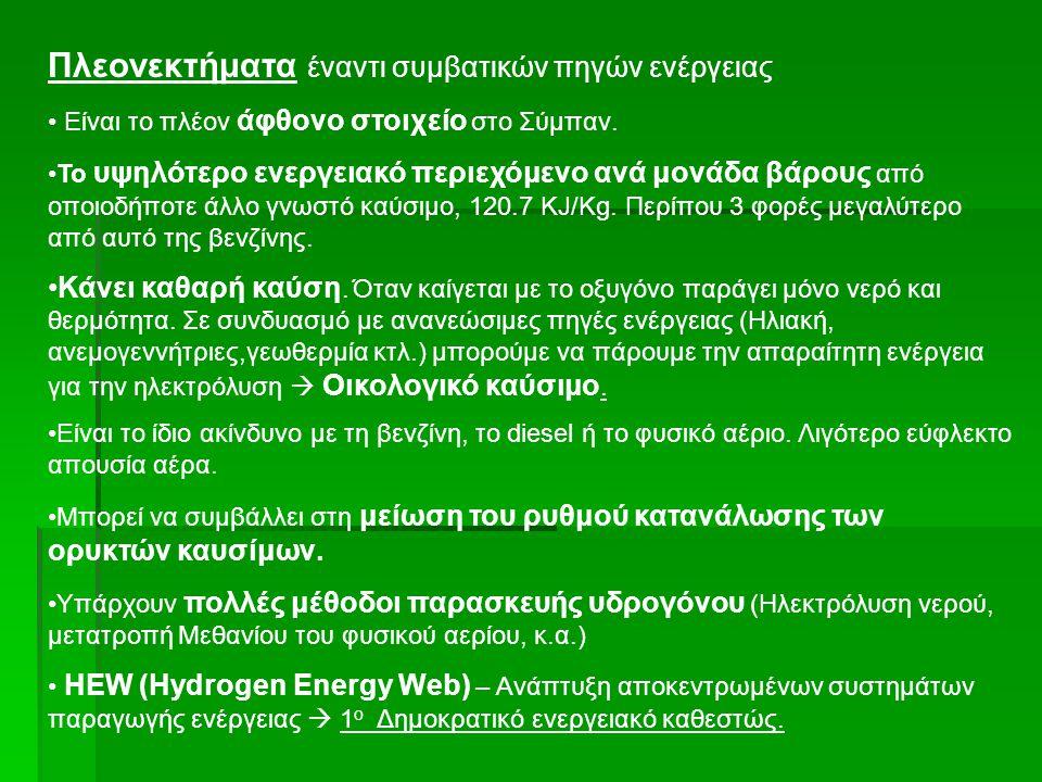 Μειονεκτήματα έναντι συμβατικών πηγών ενέργειας Ελλιπής υποδομή (παραγωγή, αποθήκευση, διανομή) Πρόβλημα αποθήκευσης.