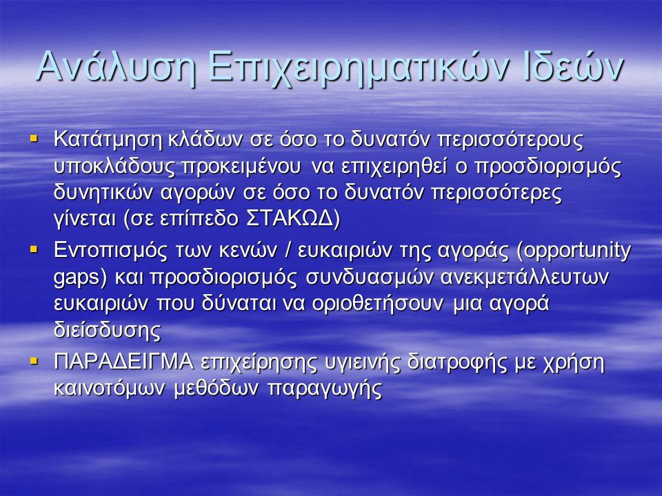Ανάλυση Επιχειρηματικών Ιδεών  Κατάτμηση κλάδων σε όσο το δυνατόν περισσότερους υποκλάδους προκειμένου να επιχειρηθεί ο προσδιορισμός δυνητικών αγορώ