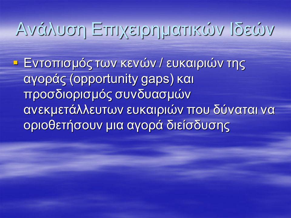 Ανάλυση Επιχειρηματικών Ιδεών  Εντοπισμός των κενών / ευκαιριών της αγοράς (opportunity gaps) και προσδιορισμός συνδυασμών ανεκμετάλλευτων ευκαιριών που δύναται να οριοθετήσουν μια αγορά διείσδυσης