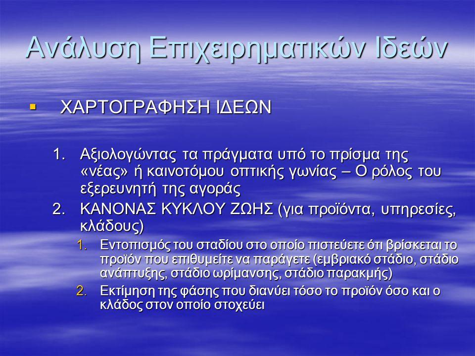 Ανάλυση Επιχειρηματικών Ιδεών  ΧΑΡΤΟΓΡΑΦΗΣΗ ΙΔΕΩΝ 1.Αξιολογώντας τα πράγματα υπό το πρίσμα της «νέας» ή καινοτόμου οπτικής γωνίας – Ο ρόλος του εξερευνητή της αγοράς 2.ΚΑΝΟΝΑΣ ΚΥΚΛΟΥ ΖΩΗΣ (για προϊόντα, υπηρεσίες, κλάδους) 1.Εντοπισμός του σταδίου στο οποίο πιστεύετε ότι βρίσκεται το προϊόν που επιθυμείτε να παράγετε (εμβριακό στάδιο, στάδιο ανάπτυξης, στάδιο ωρίμανσης, στάδιο παρακμής) 2.Εκτίμηση της φάσης που διανύει τόσο το προϊόν όσο και ο κλάδος στον οποίο στοχεύει