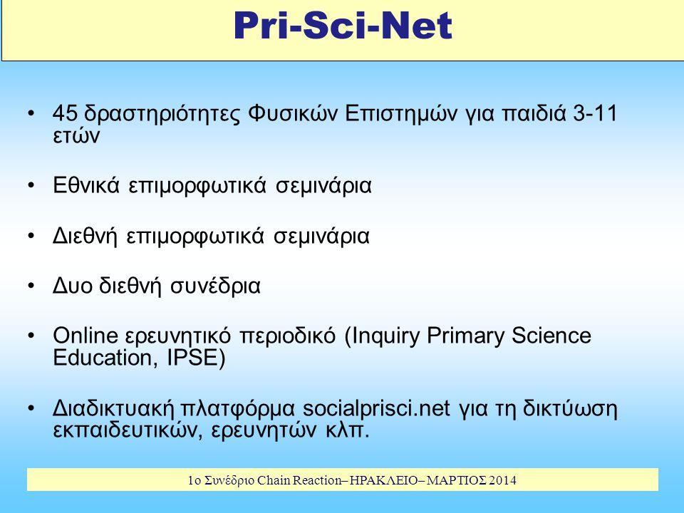 1o Συνέδριο Chain Reaction– ΗΡΑΚΛΕΙΟ– ΜΑΡΤΙΟΣ 2014 Pri-Sci-Net 45 δραστηριότητες Φυσικών Επιστημών για παιδιά 3-11 ετών Εθνικά επιμορφωτικά σεμινάρια Διεθνή επιμορφωτικά σεμινάρια Δυο διεθνή συνέδρια Online ερευνητικό περιοδικό (Inquiry Primary Science Education, IPSE) Διαδικτυακή πλατφόρμα socialprisci.net για τη δικτύωση εκπαιδευτικών, ερευνητών κλπ.