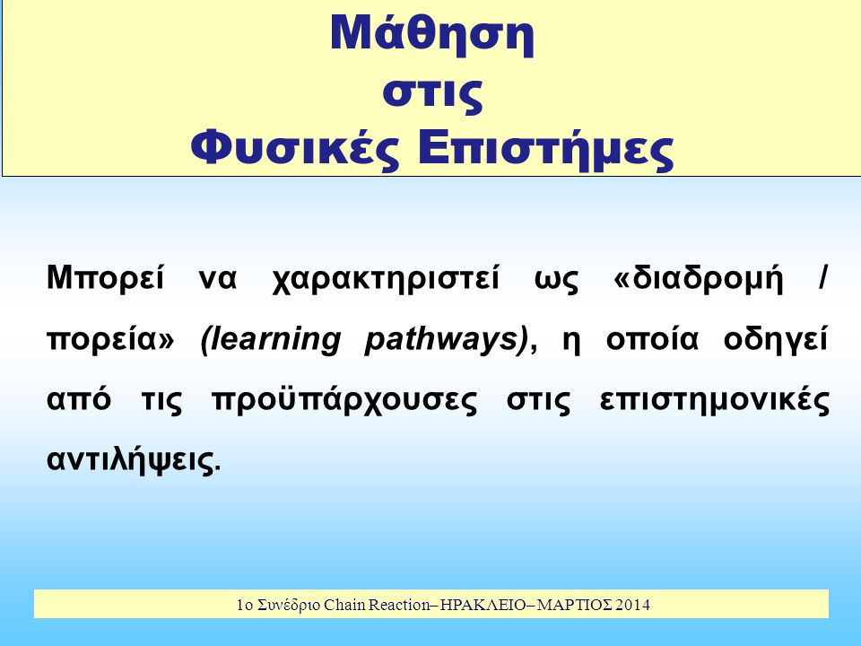 1o Συνέδριο Chain Reaction– ΗΡΑΚΛΕΙΟ– ΜΑΡΤΙΟΣ 2014 THE MODEL OF EDUCATIONAL RECONSTRUCTION (2) Research on teaching & learning Perspectives of the learners (conceptions & affective variables) Teaching & Learning Processes Teachers'views & conceptions (1) Clarification and analysis of science content Subject matter clarification & Analysis of educational significance (3) Design and evaluation of teaching and learning environments Issues of real teaching & learning environments are taken into account