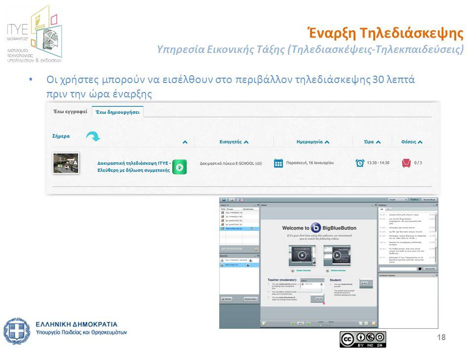 Έναρξη Τηλεδιάσκεψης Υπηρεσία Εικονικής Τάξης (Τηλεδιασκέψεις-Τηλεκπαιδεύσεις) Οι χρήστες μπορούν να εισέλθουν στο περιβάλλον τηλεδιάσκεψης 30 λεπτά πριν την ώρα έναρξης 18