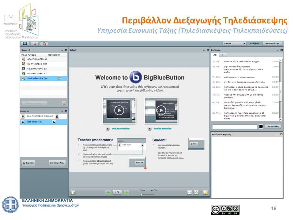 Περιβάλλον Διεξαγωγής Τηλεδιάσκεψης Υπηρεσία Εικονικής Τάξης (Τηλεδιασκέψεις-Τηλεκπαιδεύσεις) 19