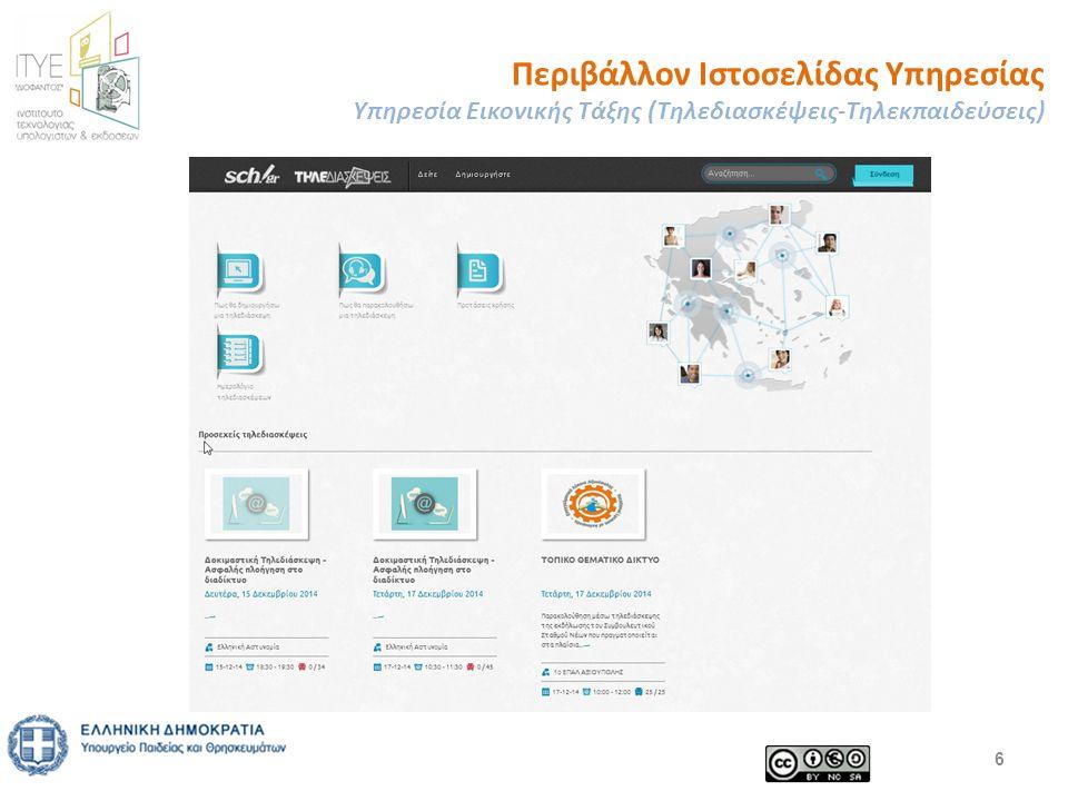 Περιβάλλον Ιστοσελίδας Υπηρεσίας Υπηρεσία Εικονικής Τάξης (Τηλεδιασκέψεις-Τηλεκπαιδεύσεις) 6