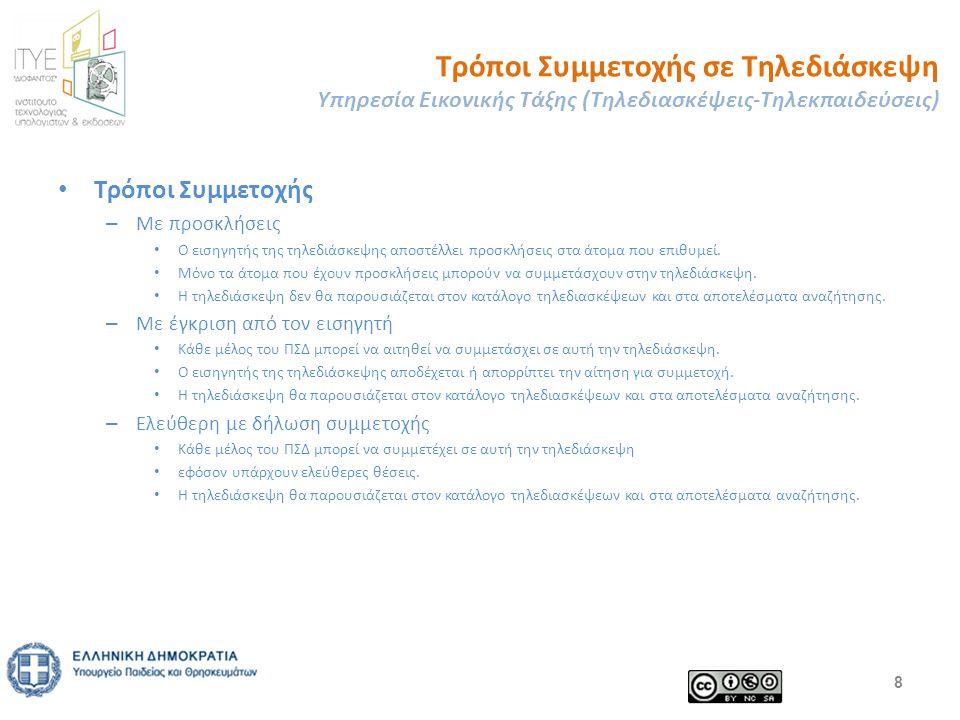 Τρόποι Συμμετοχής σε Τηλεδιάσκεψη Υπηρεσία Εικονικής Τάξης (Τηλεδιασκέψεις-Τηλεκπαιδεύσεις) Τρόποι Συμμετοχής – Με προσκλήσεις Ο εισηγητής της τηλεδιάσκεψης αποστέλλει προσκλήσεις στα άτομα που επιθυμεί.